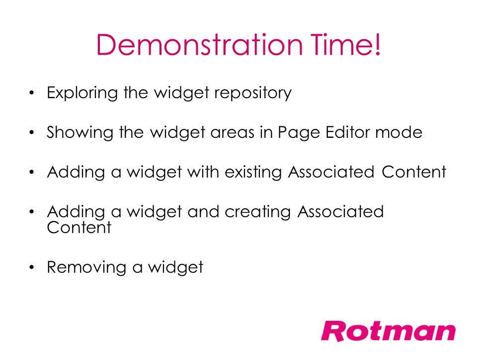Demonstration Time! Exploring the widget repository