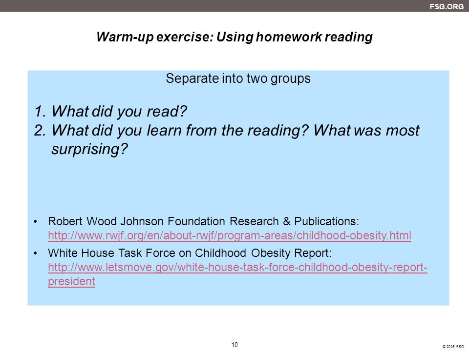 Warm-up exercise: Using homework reading