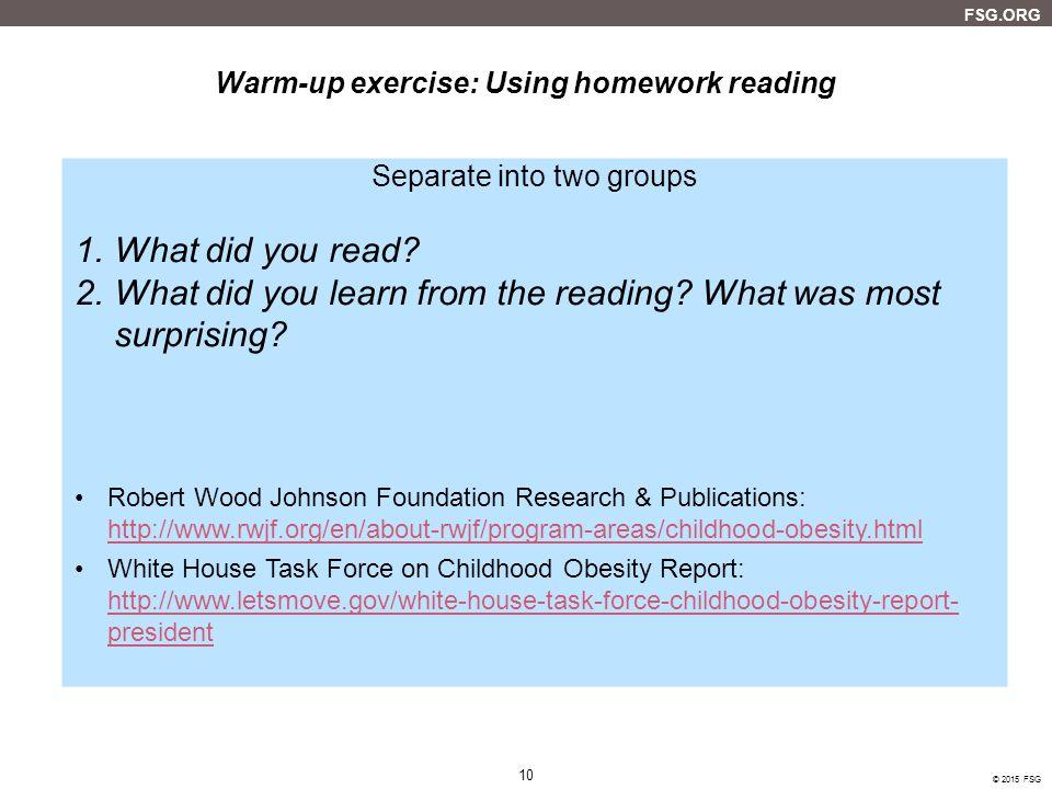 Warm-up exercise: Using homework reading