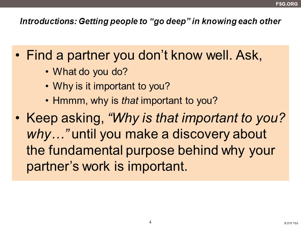 Introductions: Getting people to go deep in knowing each other
