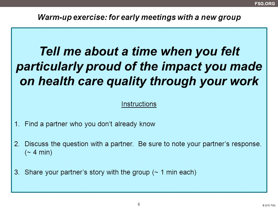 Warm-up exercise: for early meetings with a new group