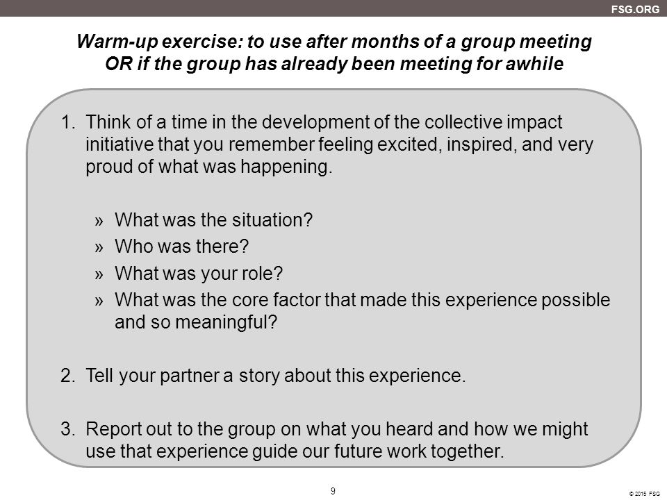 Warm-up exercise: to use after months of a group meeting