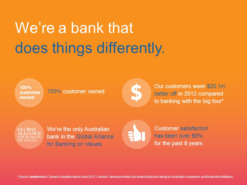 We're a bank that does things differently.