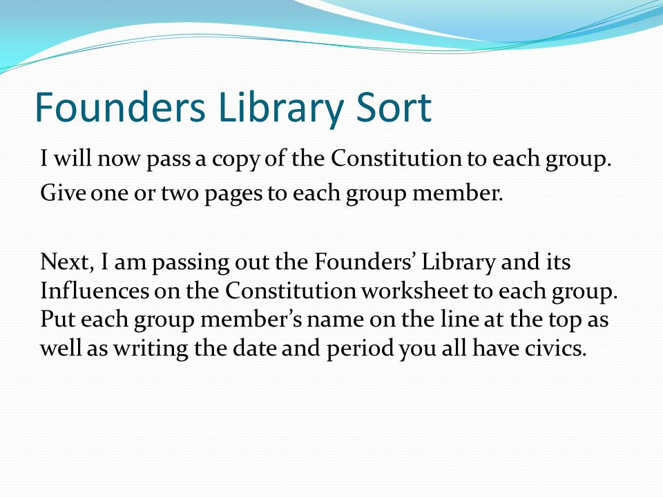 Founders Library Sort