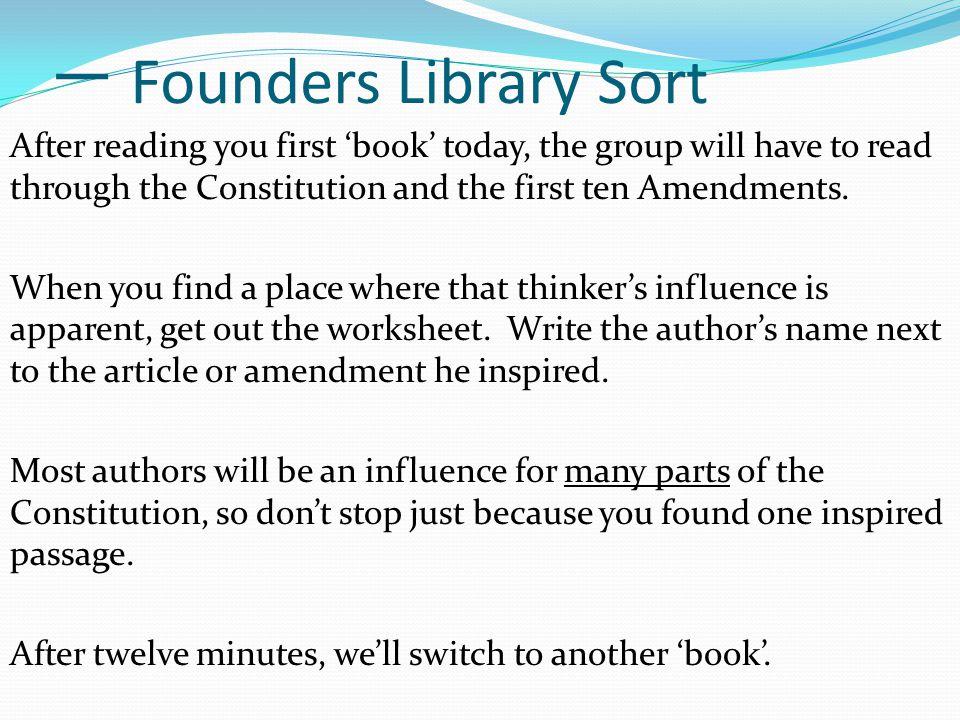 一 Founders Library Sort