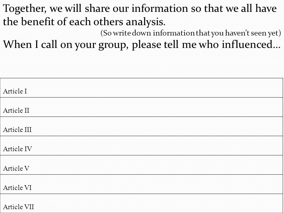 When I call on your group, please tell me who influenced…