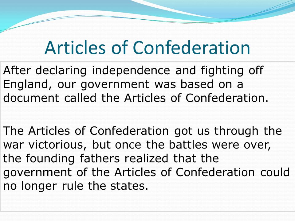 articles of confederation and founding fathers