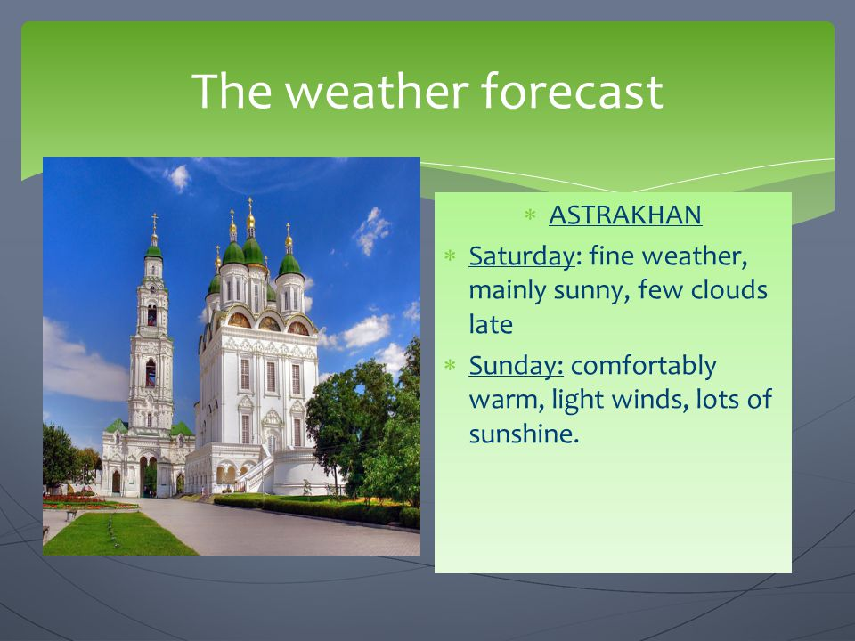 The weather forecast ASTRAKHAN