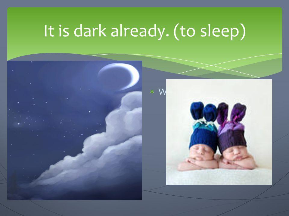 It is dark already. (to sleep)
