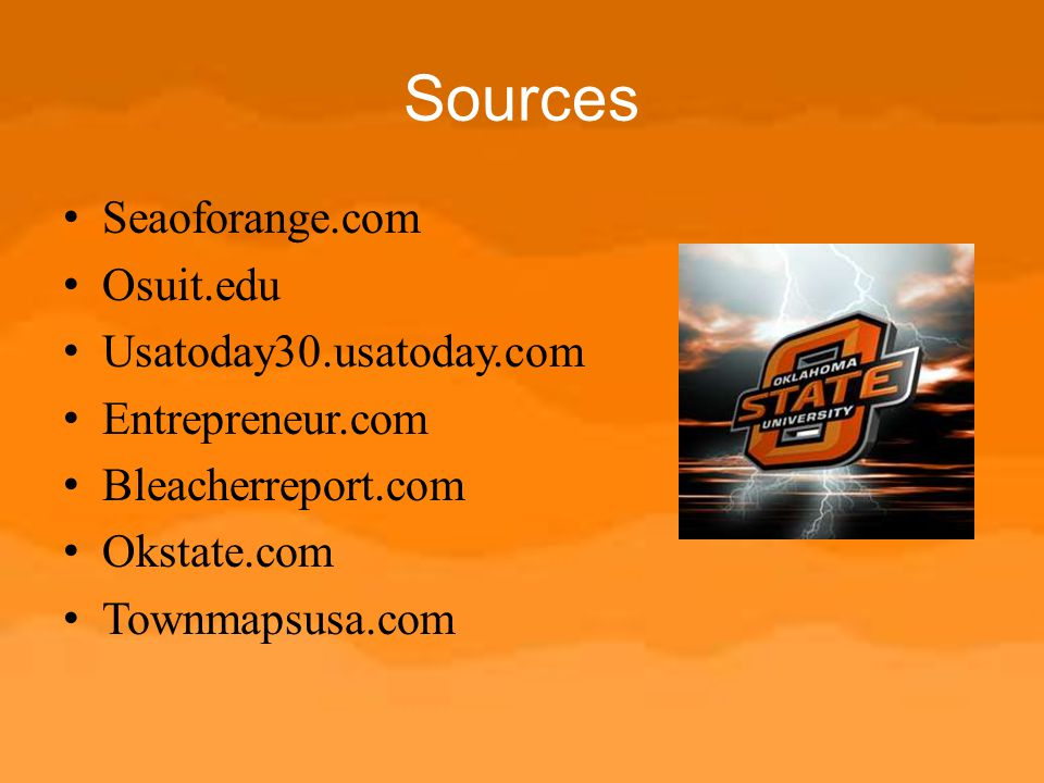 Sources Seaoforange.com Osuit.edu Usatoday30.usatoday.com
