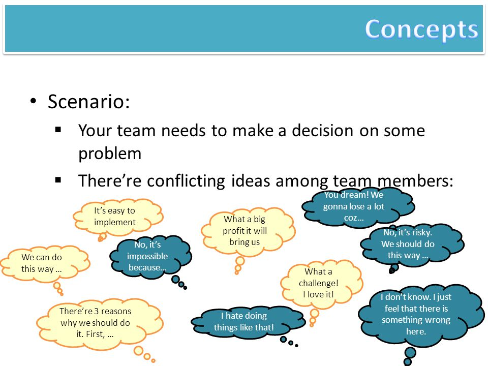 Concepts Scenario: Your team needs to make a decision on some problem