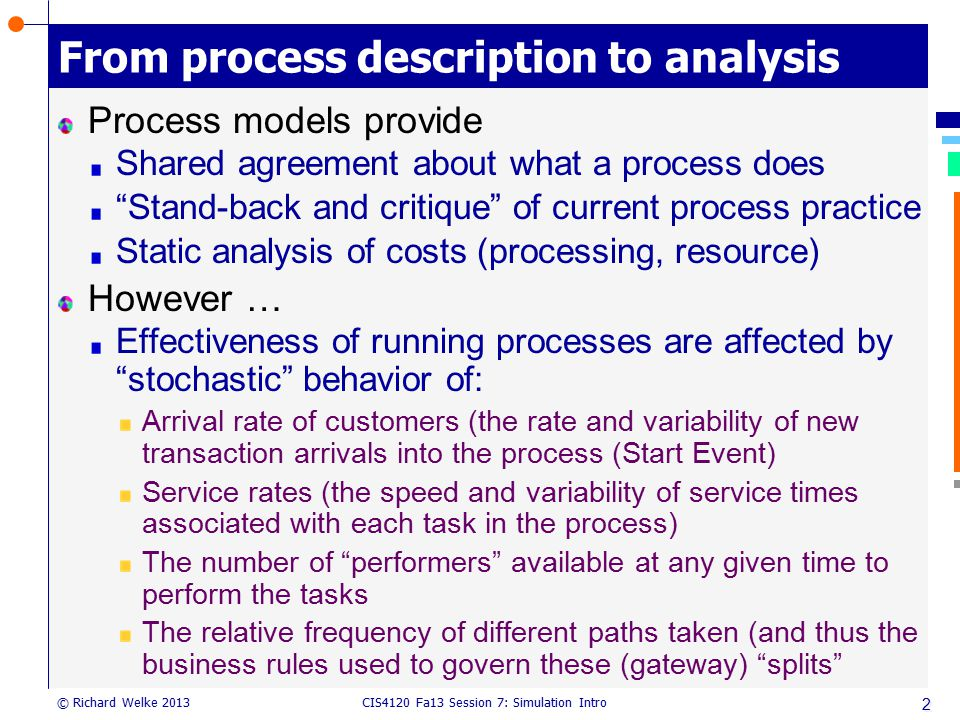 From process description to analysis