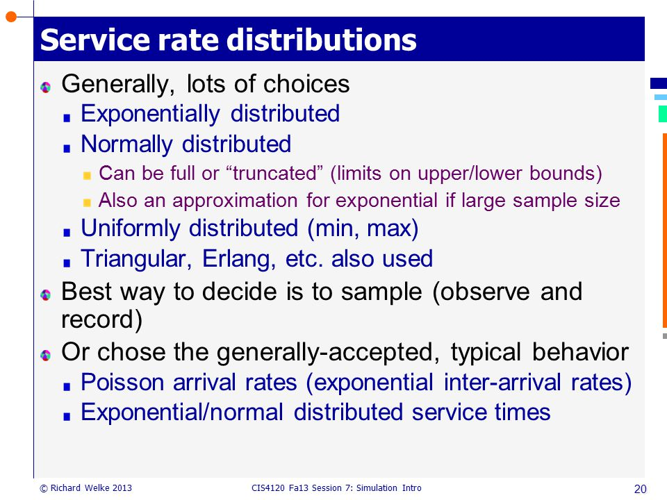 Service rate distributions