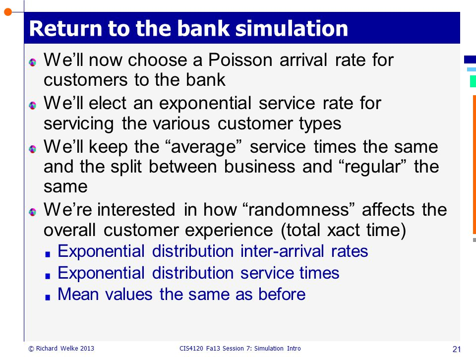 Return to the bank simulation
