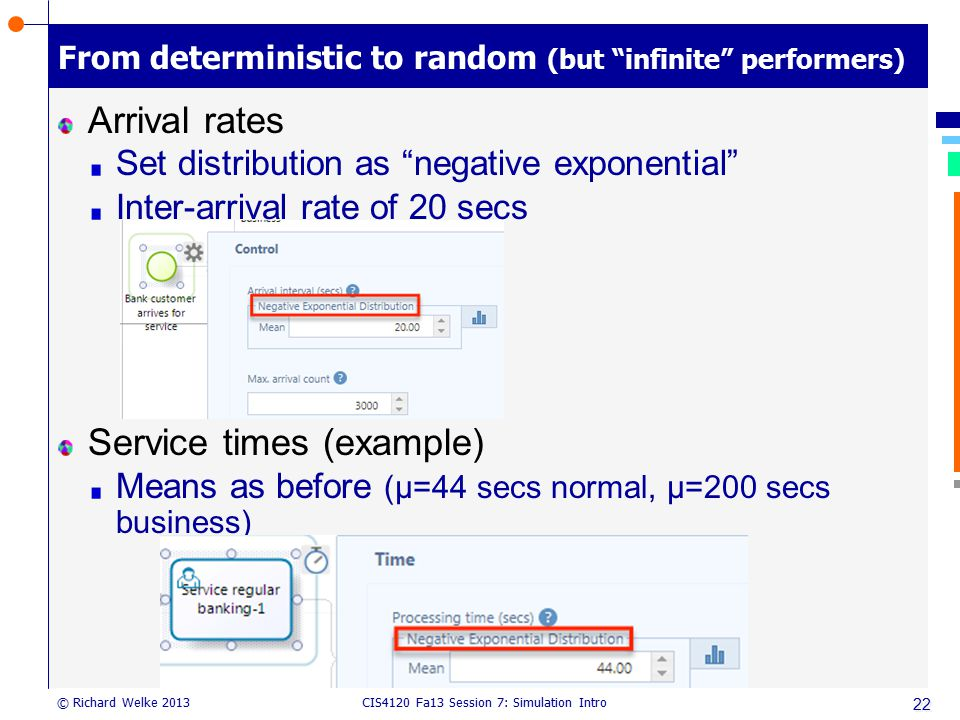 From deterministic to random (but infinite performers)