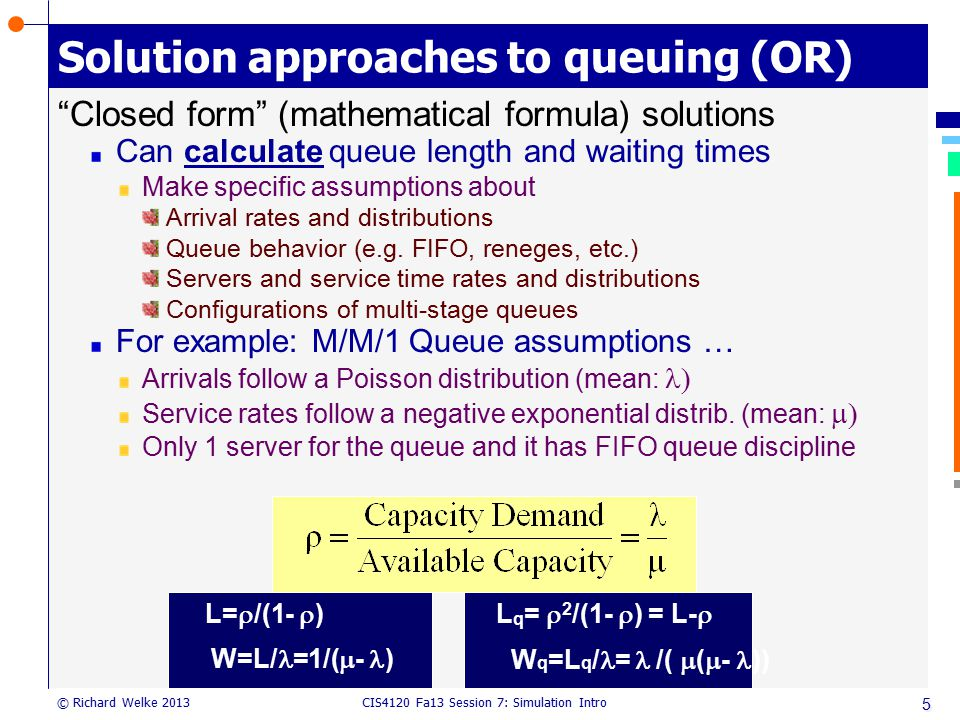 Solution approaches to queuing (OR)