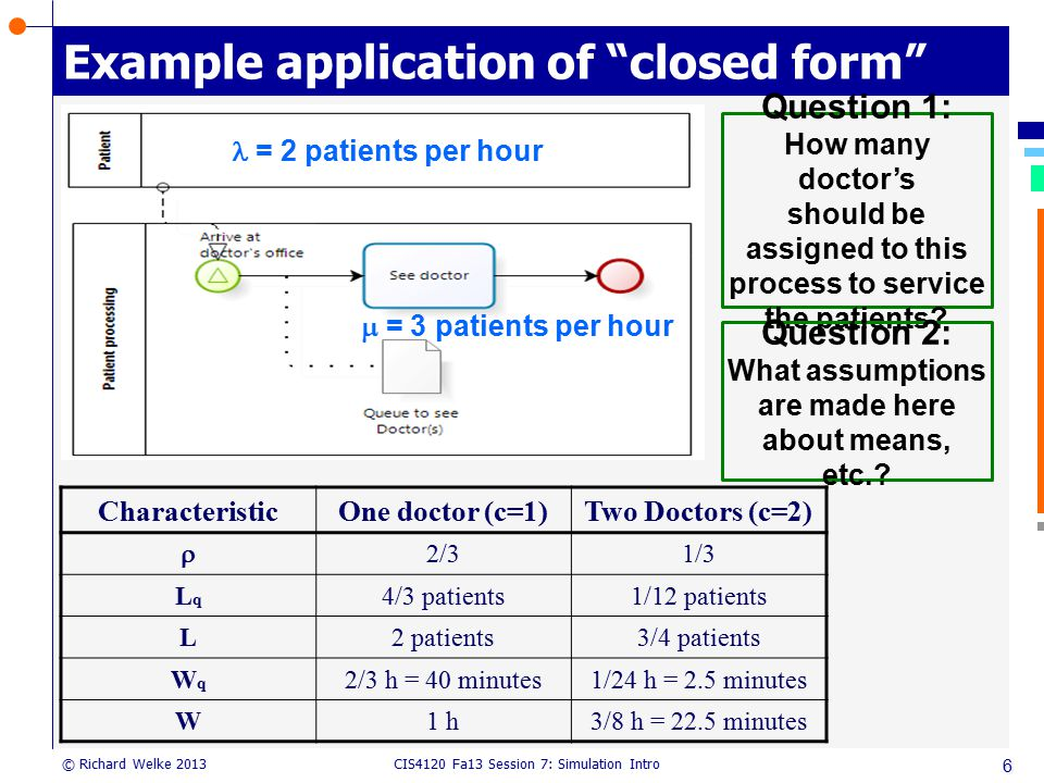 Example application of closed form