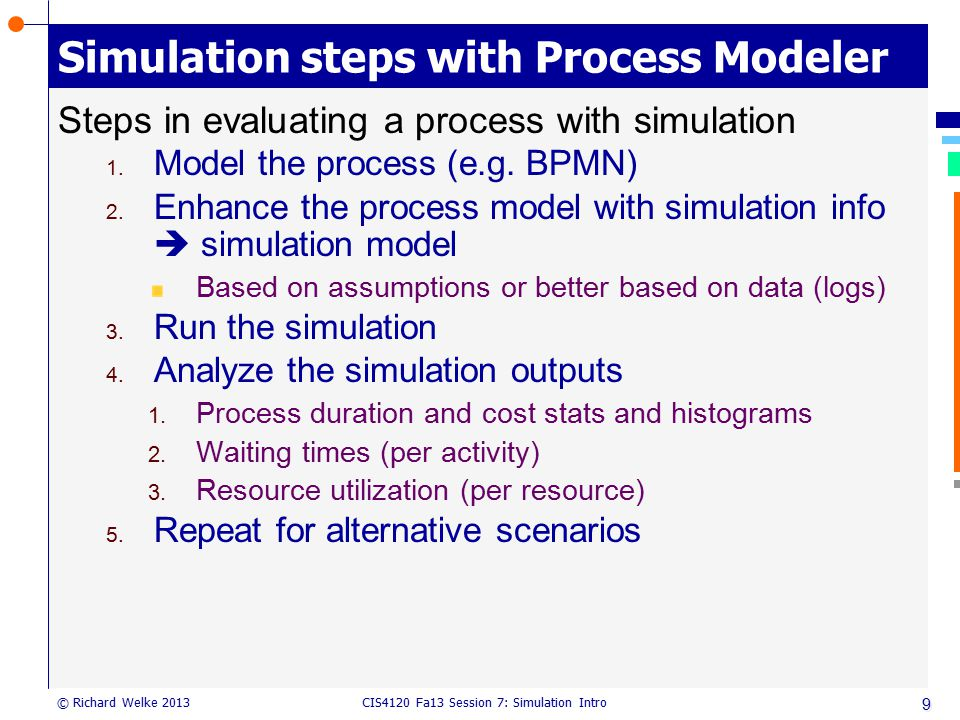 Simulation steps with Process Modeler