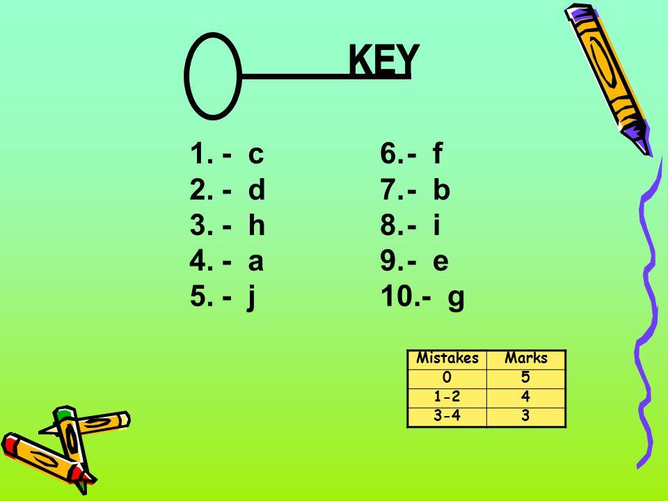 KEY - c - d - h - a - j - f - b - i - e - g Mistakes Marks 5 1-2 4 3-4
