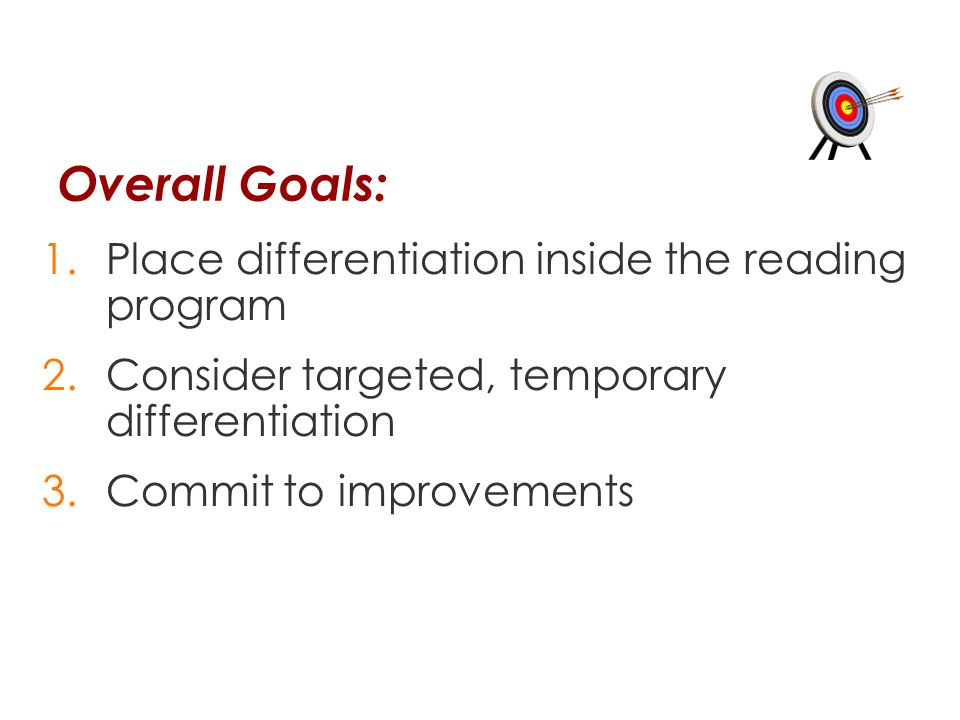 Overall Goals: Place differentiation inside the reading program