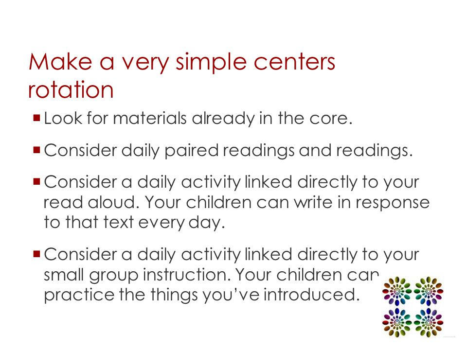 Make a very simple centers rotation