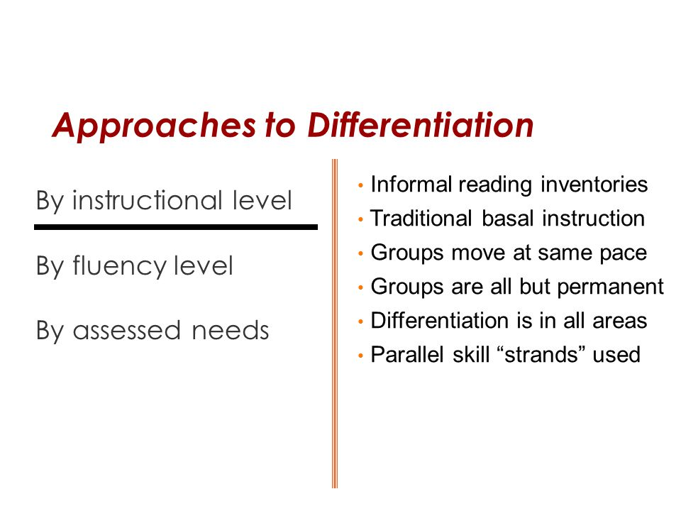 Approaches to Differentiation