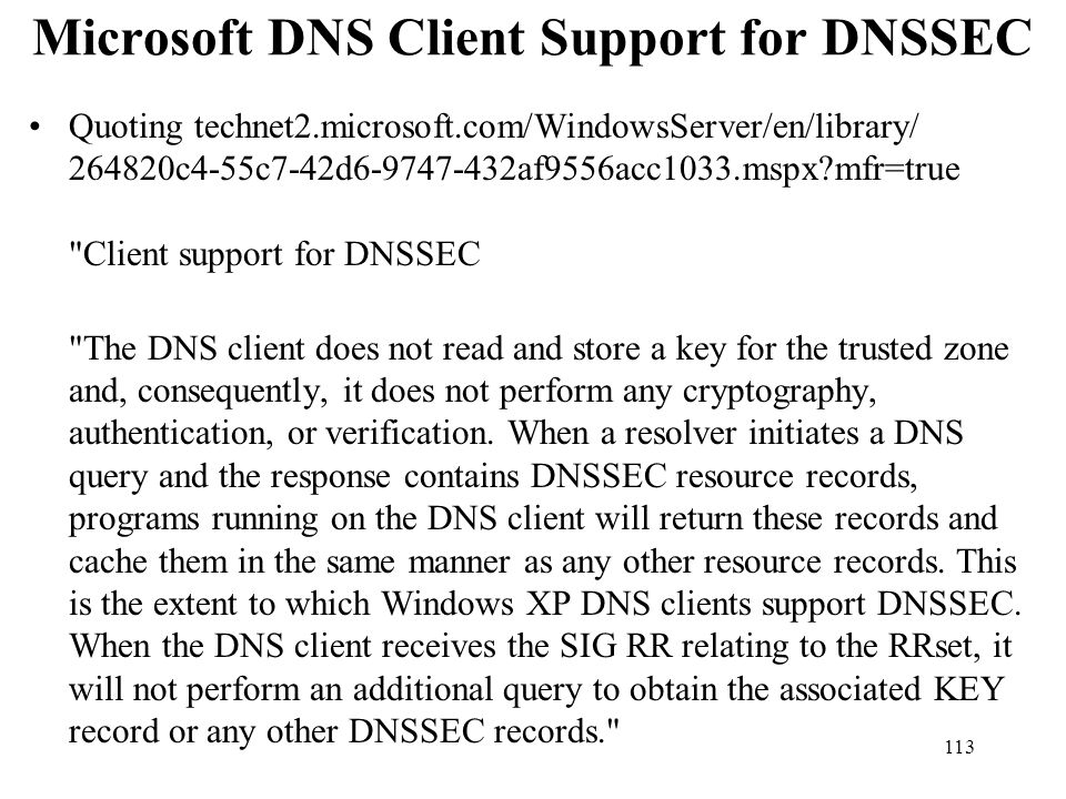 Microsoft DNS Client Support for DNSSEC