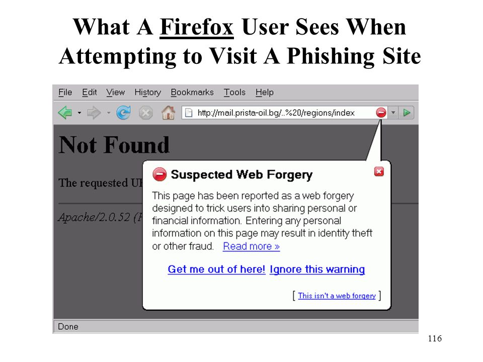 What A Firefox User Sees When Attempting to Visit A Phishing Site