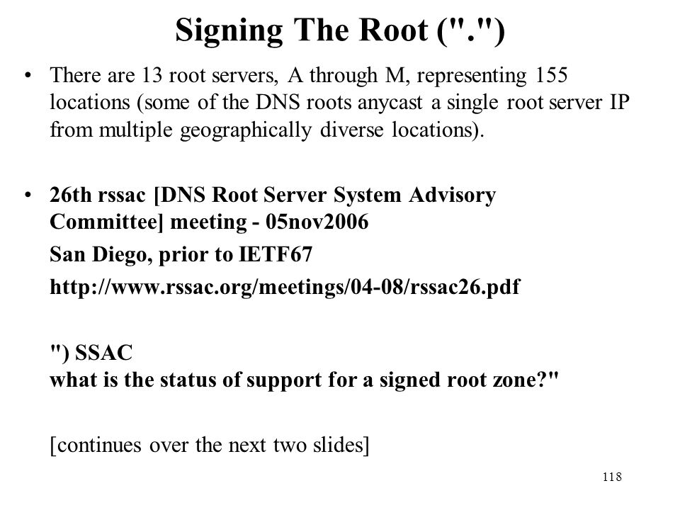 Signing The Root ( . )