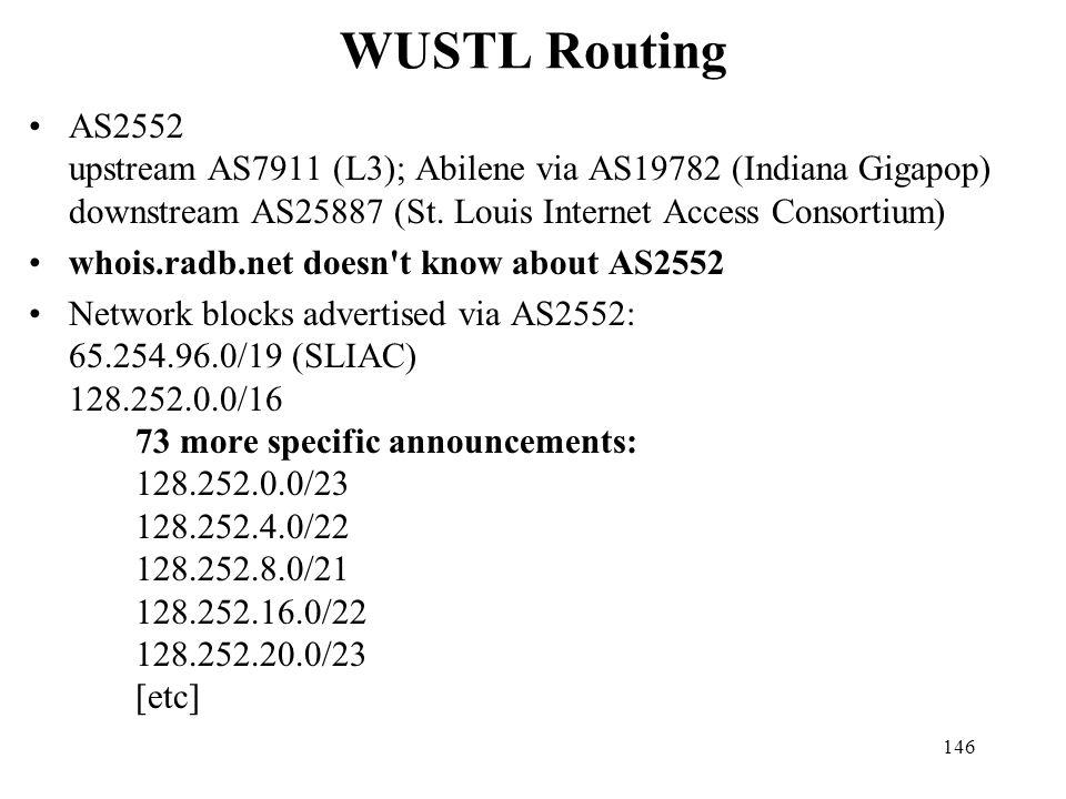 WUSTL Routing AS2552 upstream AS7911 (L3); Abilene via AS19782 (Indiana Gigapop) downstream AS25887 (St. Louis Internet Access Consortium)