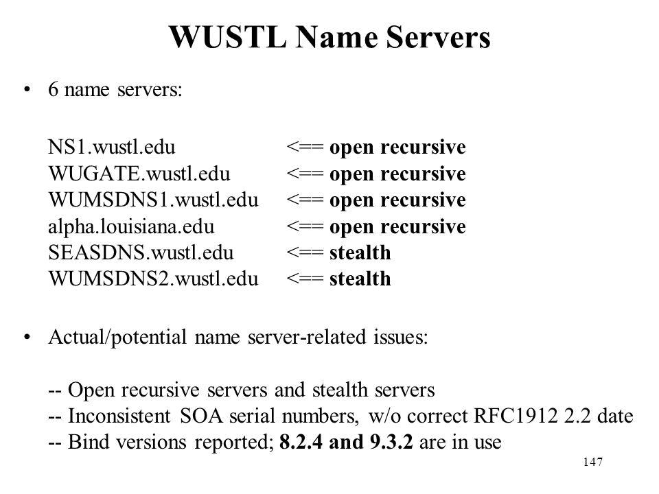WUSTL Name Servers 6 name servers:
