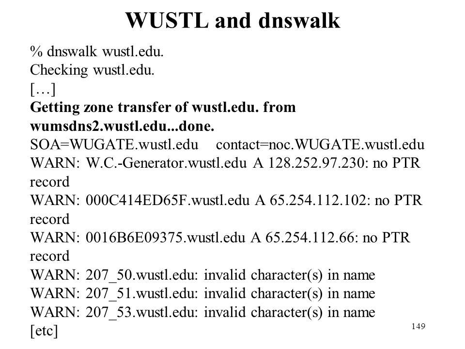 WUSTL and dnswalk
