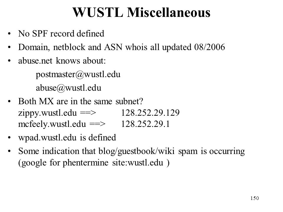 WUSTL Miscellaneous No SPF record defined