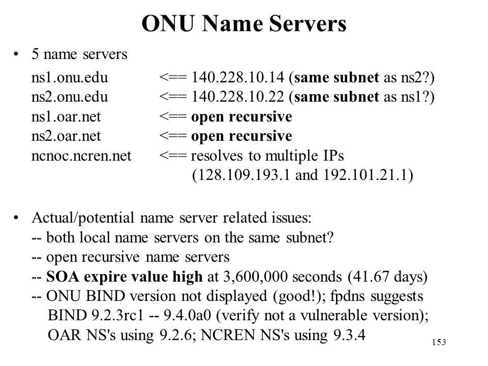ONU Name Servers 5 name servers