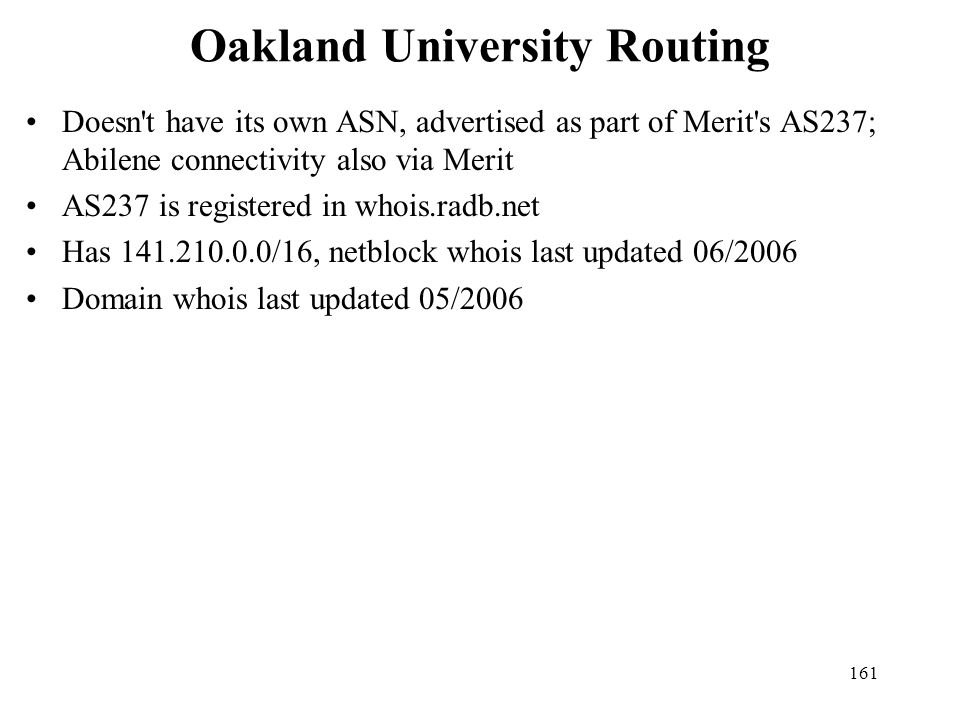 Oakland University Routing