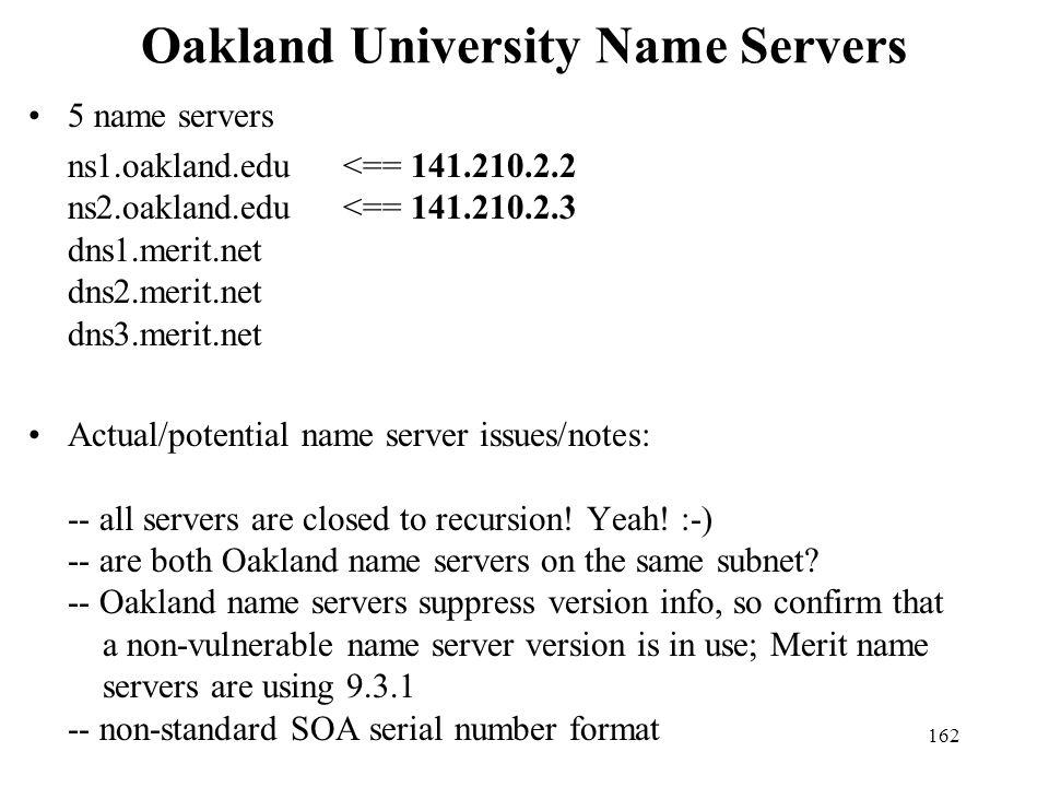 Oakland University Name Servers