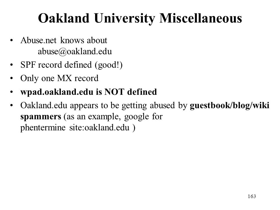 Oakland University Miscellaneous