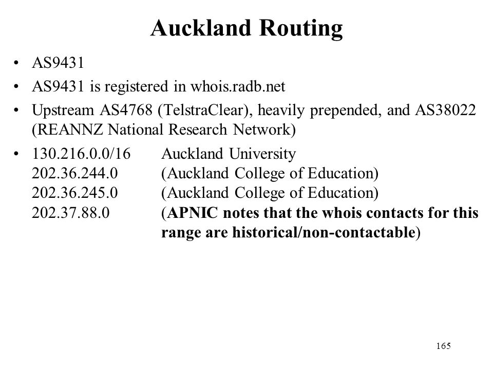 Auckland Routing AS9431 AS9431 is registered in whois.radb.net