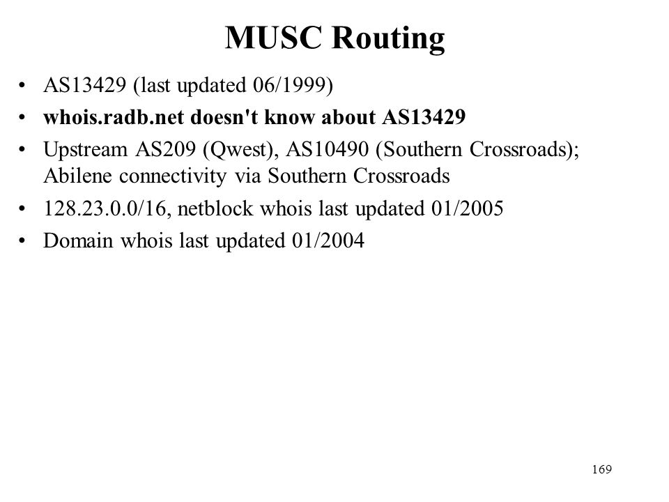 MUSC Routing AS13429 (last updated 06/1999)