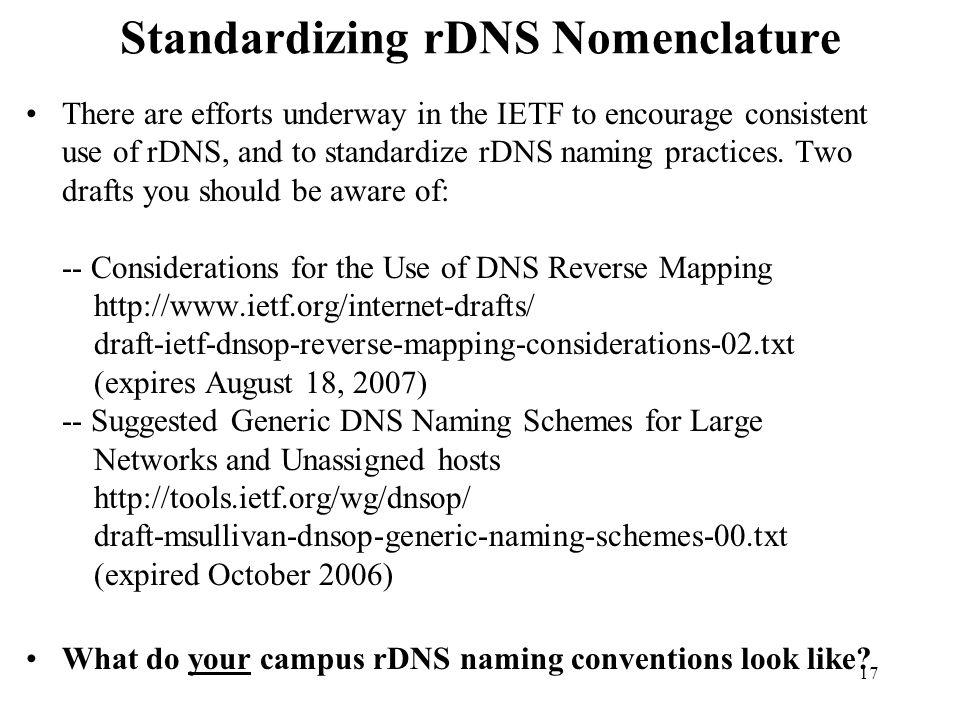 Standardizing rDNS Nomenclature