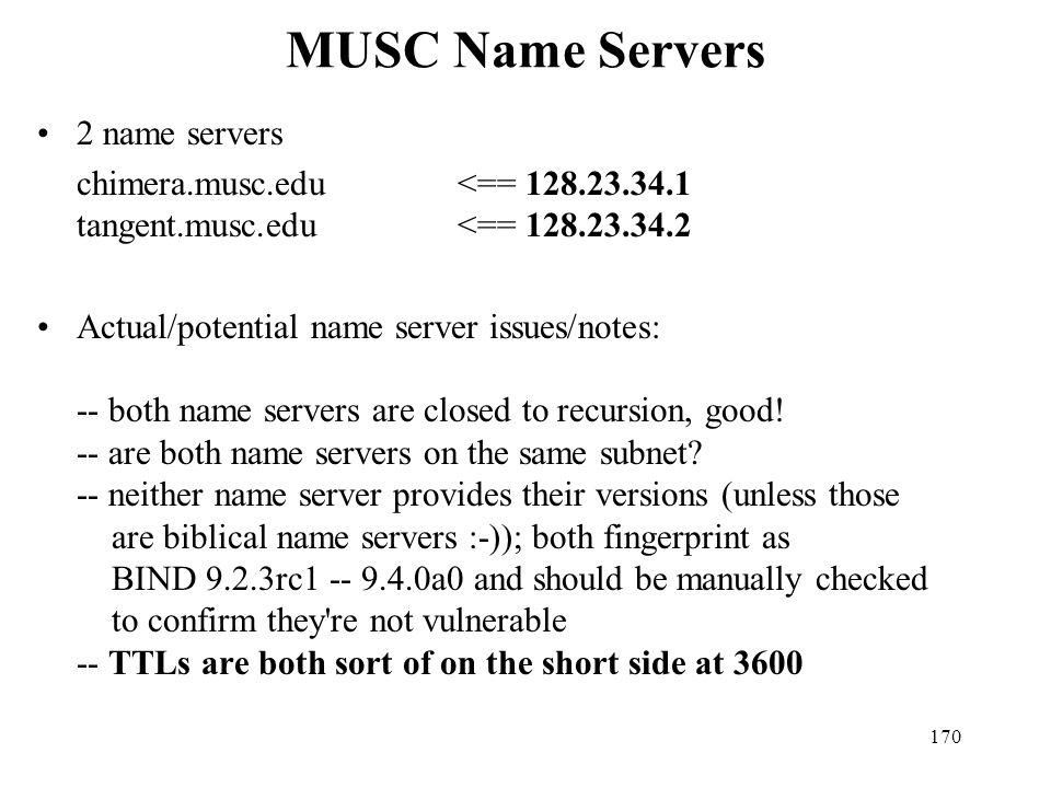 MUSC Name Servers 2 name servers