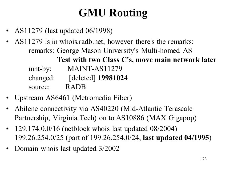 GMU Routing AS11279 (last updated 06/1998)