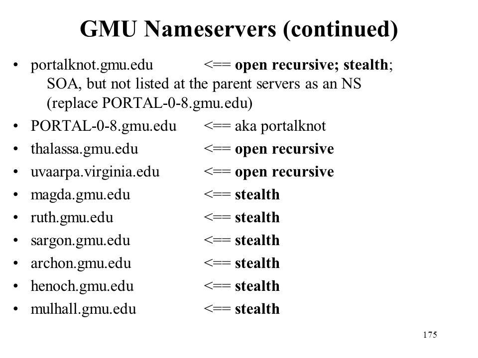 GMU Nameservers (continued)