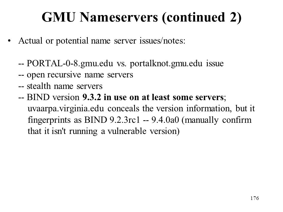 GMU Nameservers (continued 2)