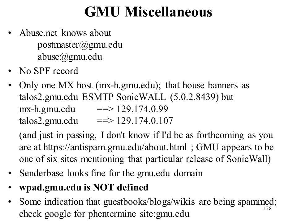 GMU Miscellaneous Abuse.net knows about postmaster@gmu.edu abuse@gmu.edu. No SPF record.