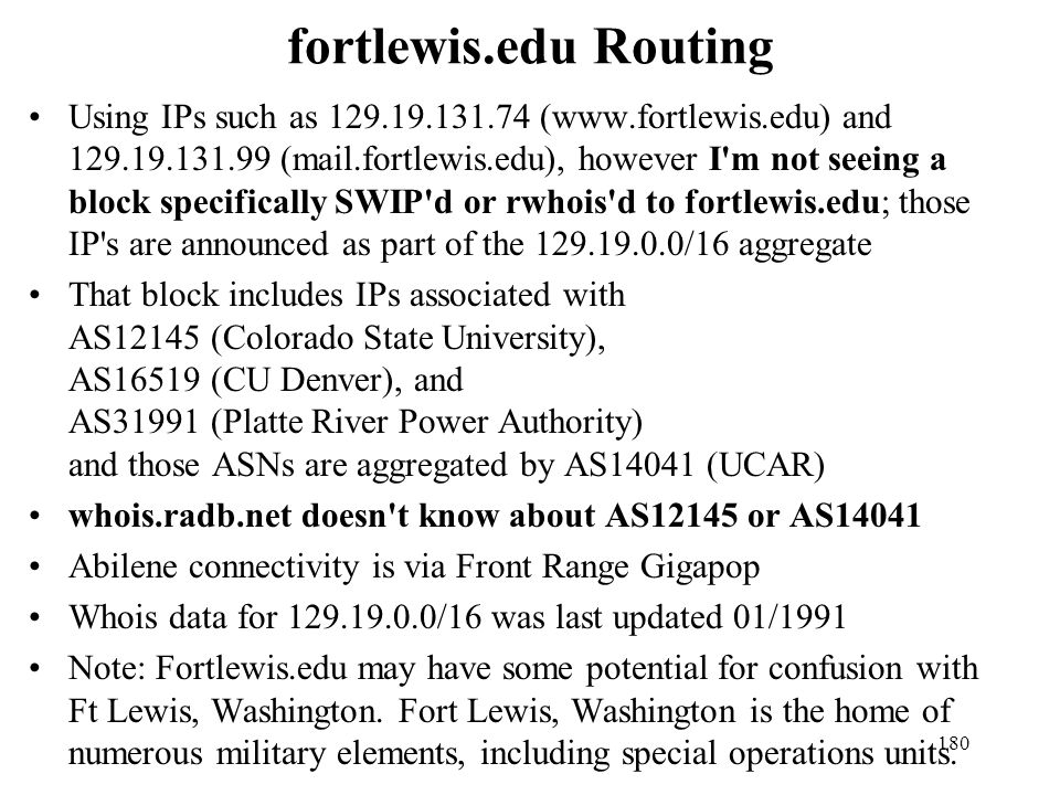fortlewis.edu Routing