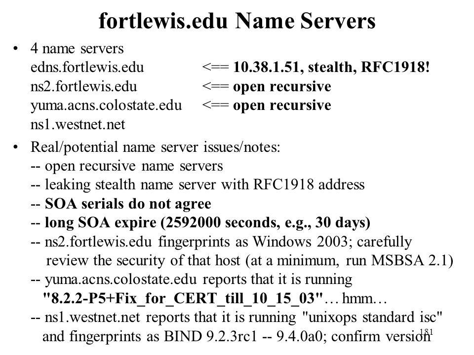 fortlewis.edu Name Servers