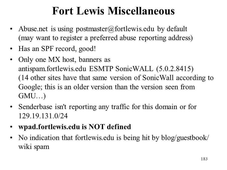 Fort Lewis Miscellaneous
