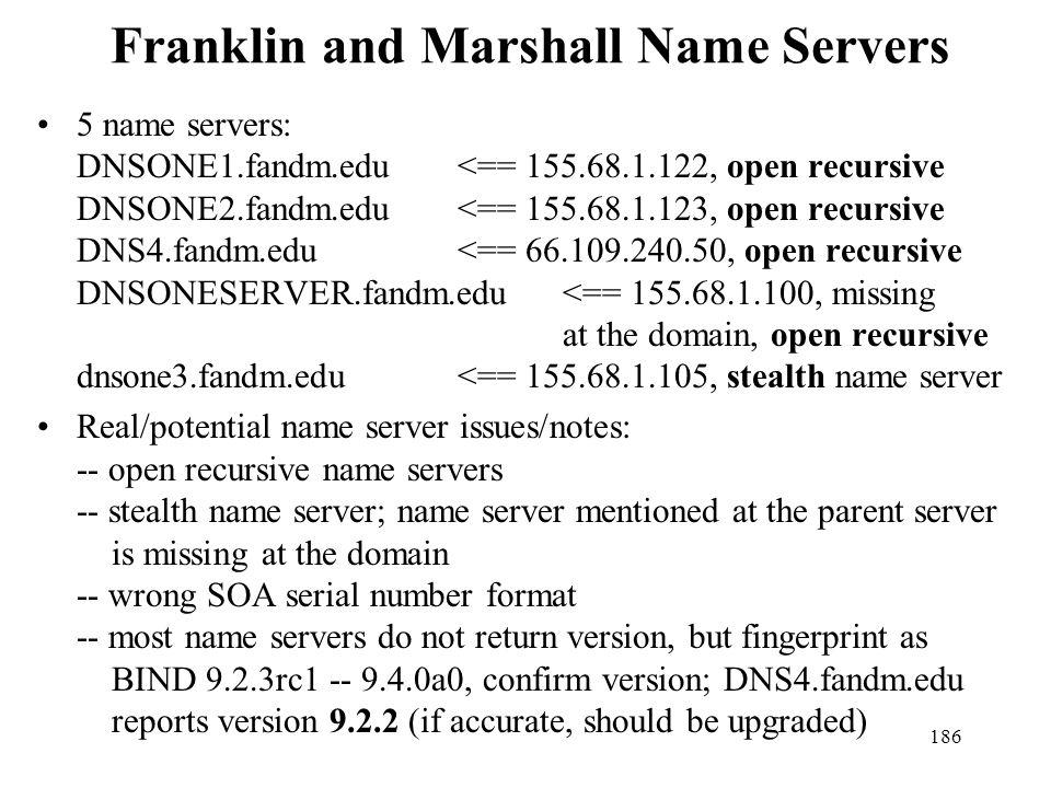 Franklin and Marshall Name Servers