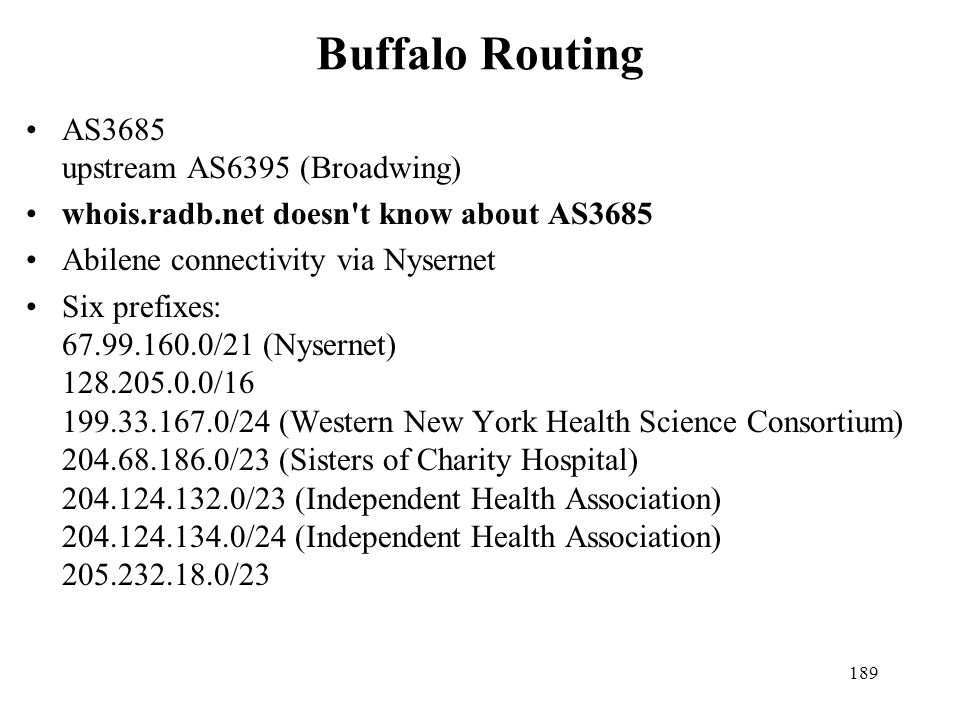 Buffalo Routing AS3685 upstream AS6395 (Broadwing)